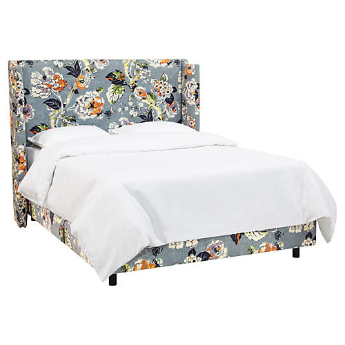 Haley Wingback Bed, Slate Blue Floral Linen