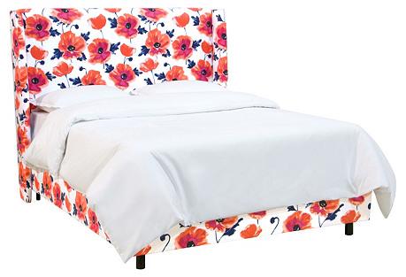 Allie Wingback Bed, Pink Floral