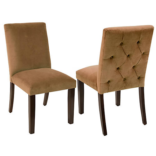 S/2 Lisa Side Chairs, Sand Velvet