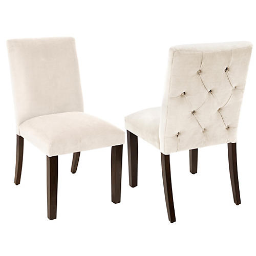 S/2 Lisa Side Chairs, Cream Velvet