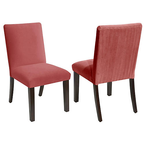 S/2 Erin Side Chairs, Dusty Rose Velvet