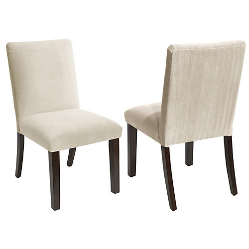 S/2 Erin Side Chairs, Cream Velvet