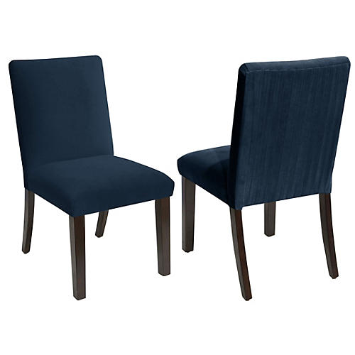 S/2 Erin Side Chairs, Navy Velvet
