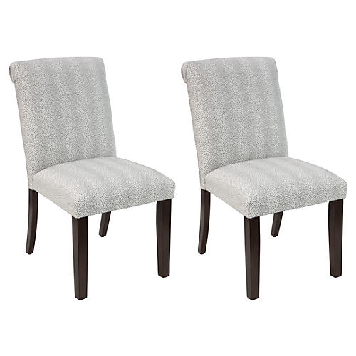 S/2 Carmen Side Chairs, Pewter Spot