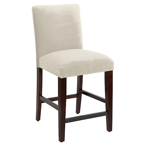 Erin Pleated Counter Stool, Cream Velvet