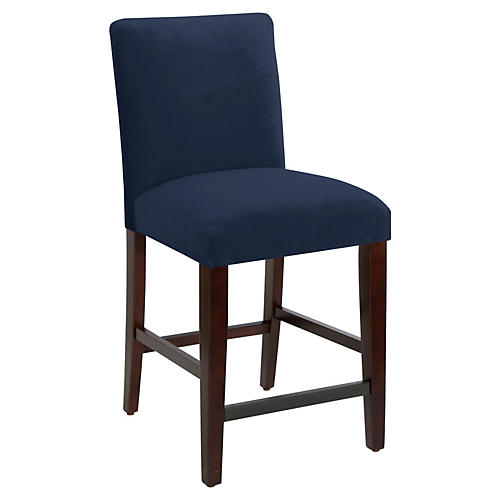 Erin Pleated Counter Stool, Navy Velvet