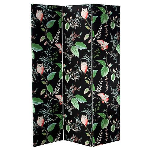 Merrill Room Screen, Black/Green Linen