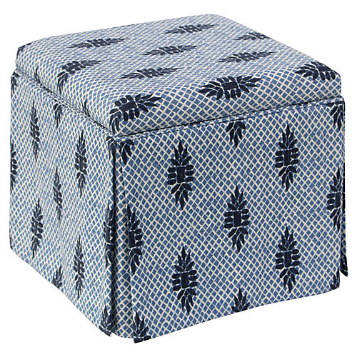 Anne Skirted Storage Ottoman, Boca Medallion