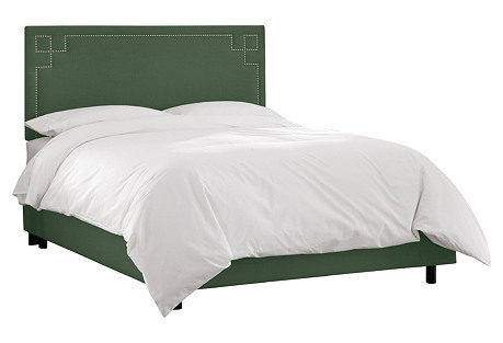 Aiden Bed, Green Linen