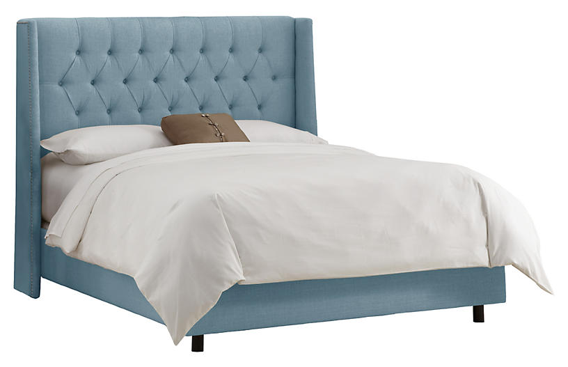 Alex Wingback Bed, Light Blue Linen