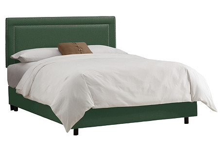 Bardot Bed, Green Linen
