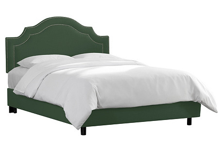 Bedford Bed, Green Linen