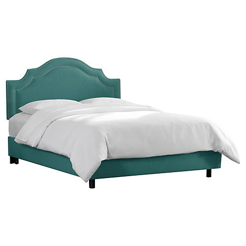 Bedford Bed, Teal Linen