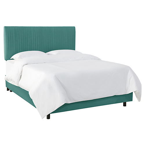 Erin Pleated Bed, Teal