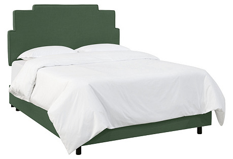 Rex Bed, Green Linen