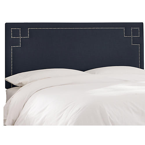 Aiden Headboard, Navy Linen