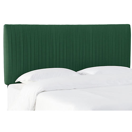 Erin Pleated Headboard Green Linen