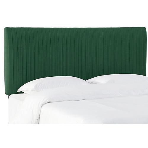 Erin Pleated Headboard, Green Linen