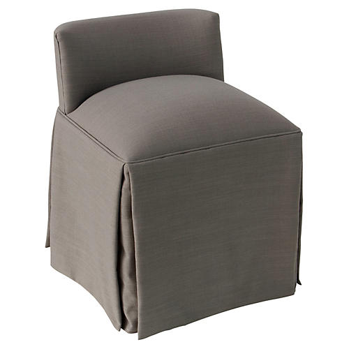 Eliza Skirted Vanity Stool, Gray Linen