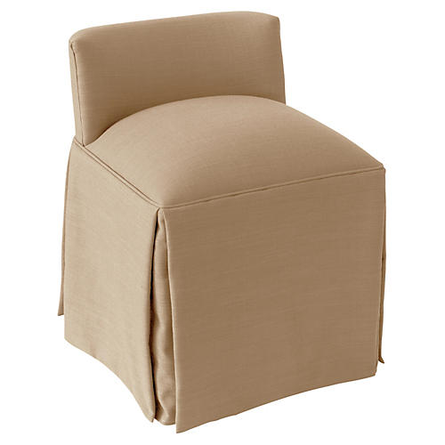 Eliza Skirted Vanity Stool, Sand Linen