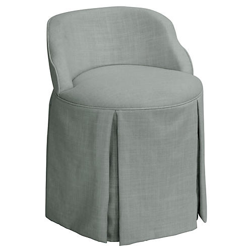 Addie Vanity Stool, Gray Linen