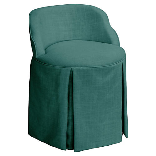 Addie Vanity Stool, Teal Linen