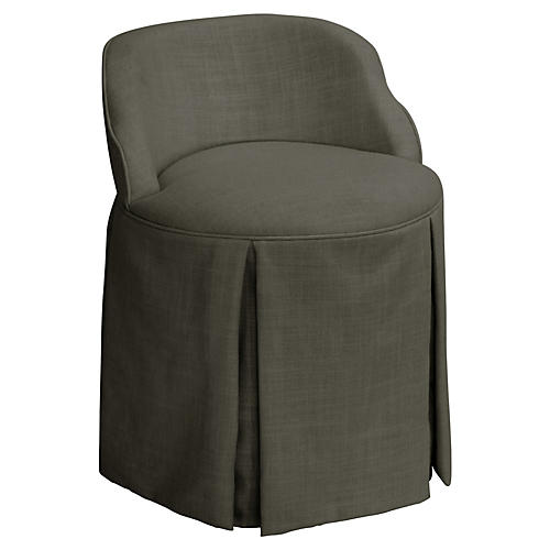 Addie Vanity Stool, Charcoal Linen