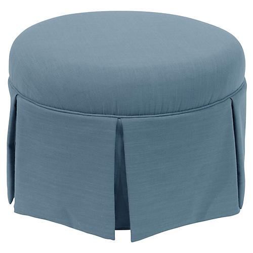 Liza Skirted Ottoman, Light Blue