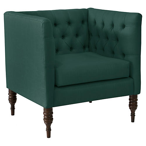 Churchill Tufted Club Chair, Forest Linen