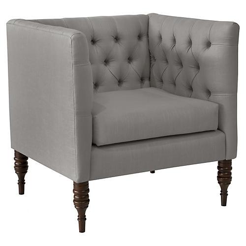 Churchill Tufted Club Chair, Gray