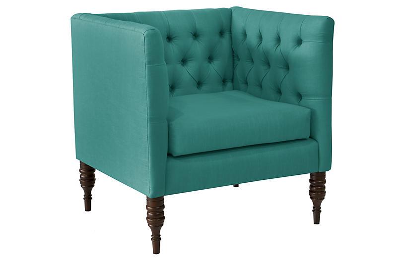 Churchill Tufted Club Chair, Teal