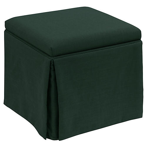 Anne Skirted Storage Ottoman, Forest Linen