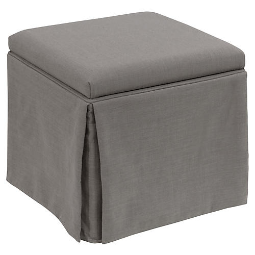 Anne Skirted Storage Ottoman, Gray
