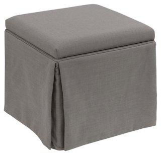 Anne Skirted Storage Ottoman, Gray   Ottomans   Ottomans, Poufs U0026 Stools    Living Room   Furniture | One Kings Lane