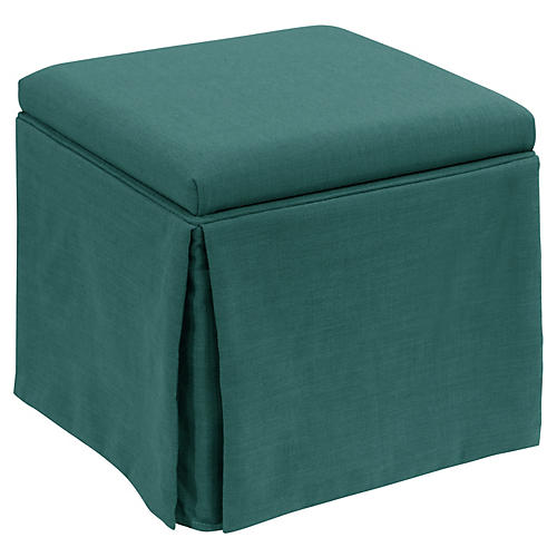 Anne Skirted Storage Ottoman, Teal
