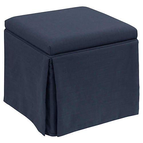 Anne Skirted Storage Ottoman, Navy