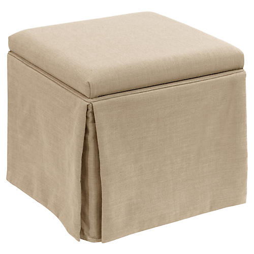 Anne Skirted Storage Ottoman, Sand Linen