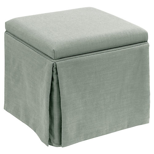 Anne Skirted Storage Ottoman, Mint Linen