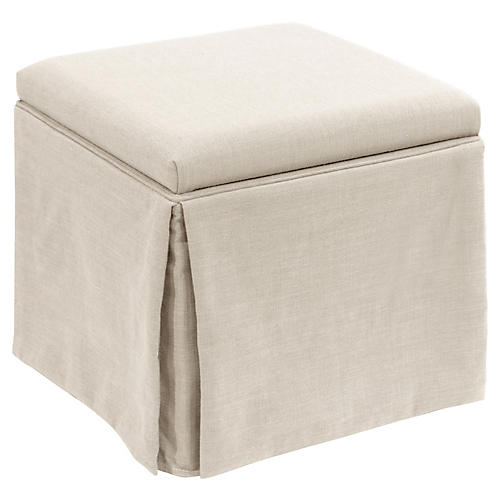 Anne Skirted Storage Ottoman, Talc