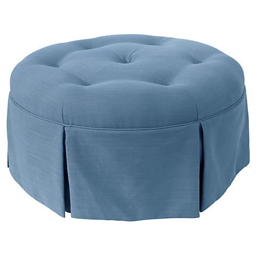 Mary Skirted Ottoman, Light Blue