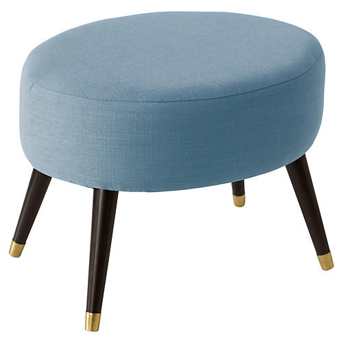 Dani Oval Ottoman, Light Blue