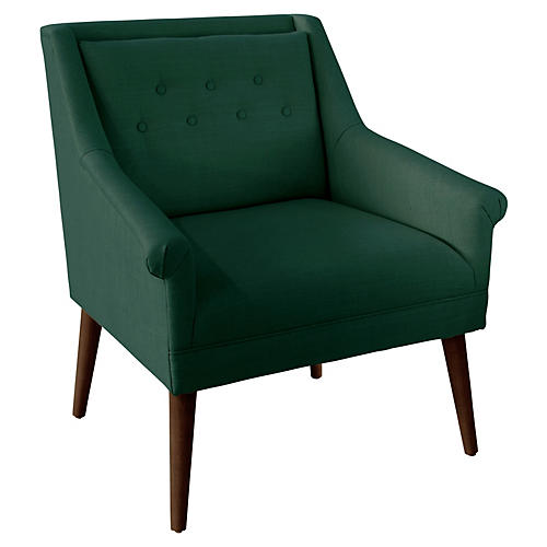 Bella Tufted Accent Chair, Forest Linen