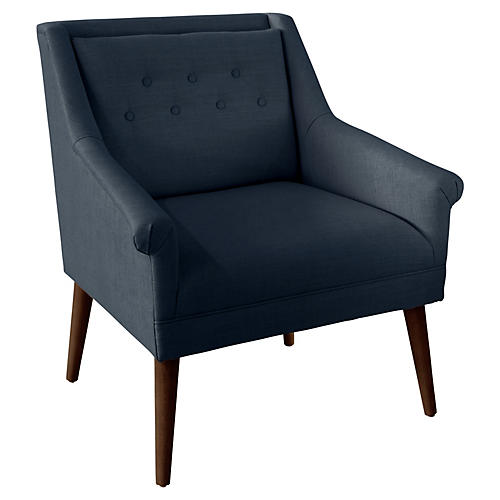 Bella Tufted Accent Chair, Navy