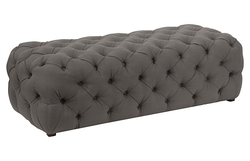 Marvelous Liane Tufted Bench Slate Linen Inzonedesignstudio Interior Chair Design Inzonedesignstudiocom