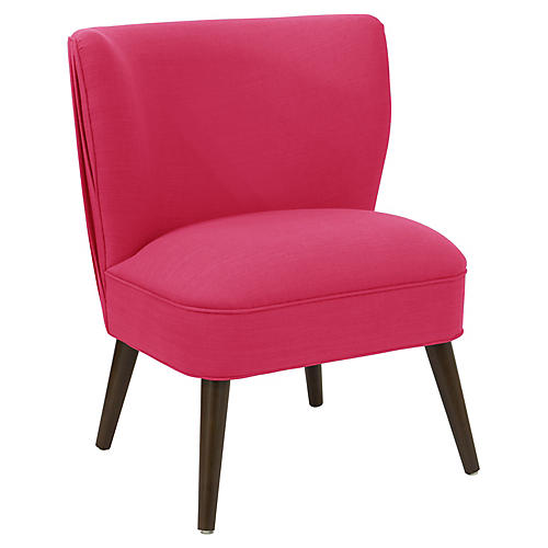 Erin Pleated Accent Chair, Fuchsia Linen