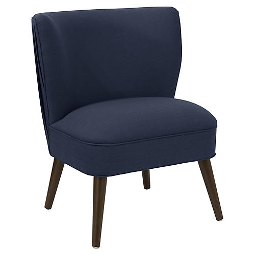 Erin Pleated Accent Chair, Navy