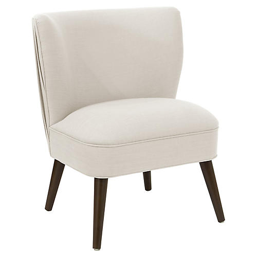 Erin Pleated Accent Chair, Talc