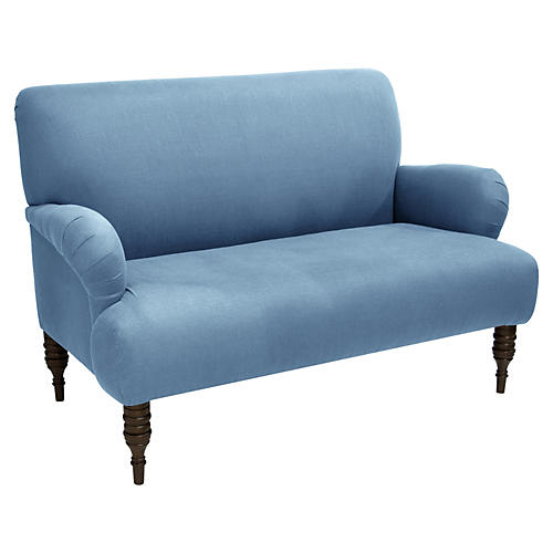 Nicolette Settee, French Blue Linen
