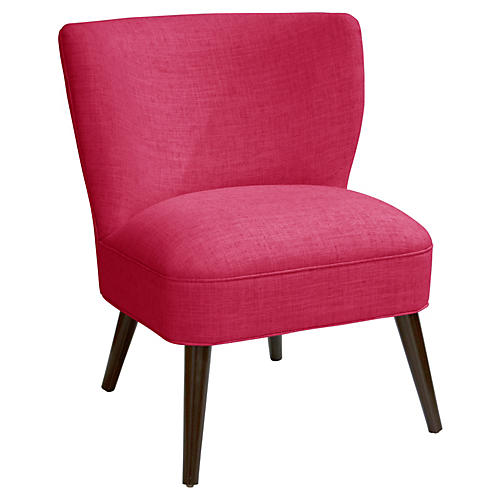 Bailey Accent Chair, Fuchsia Linen
