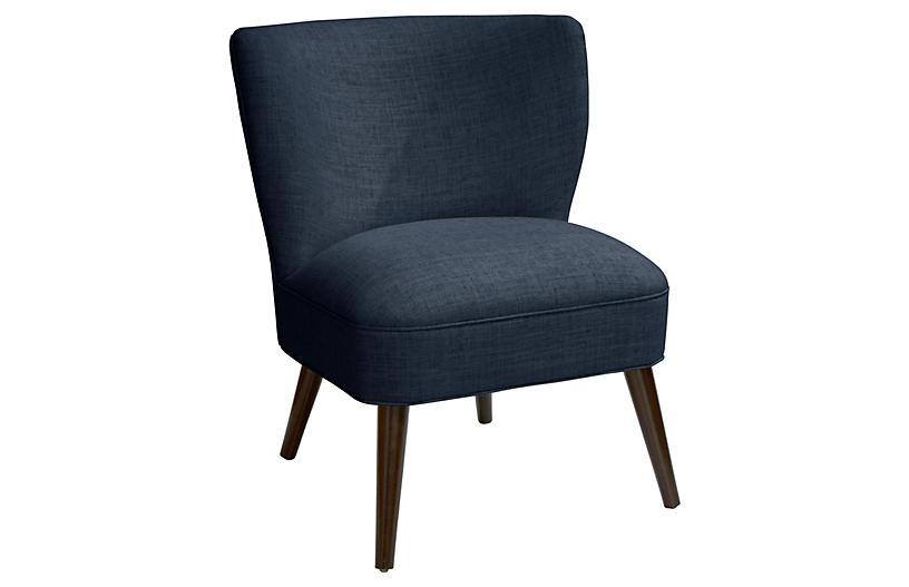 Bailey Accent Chair, Navy Linen